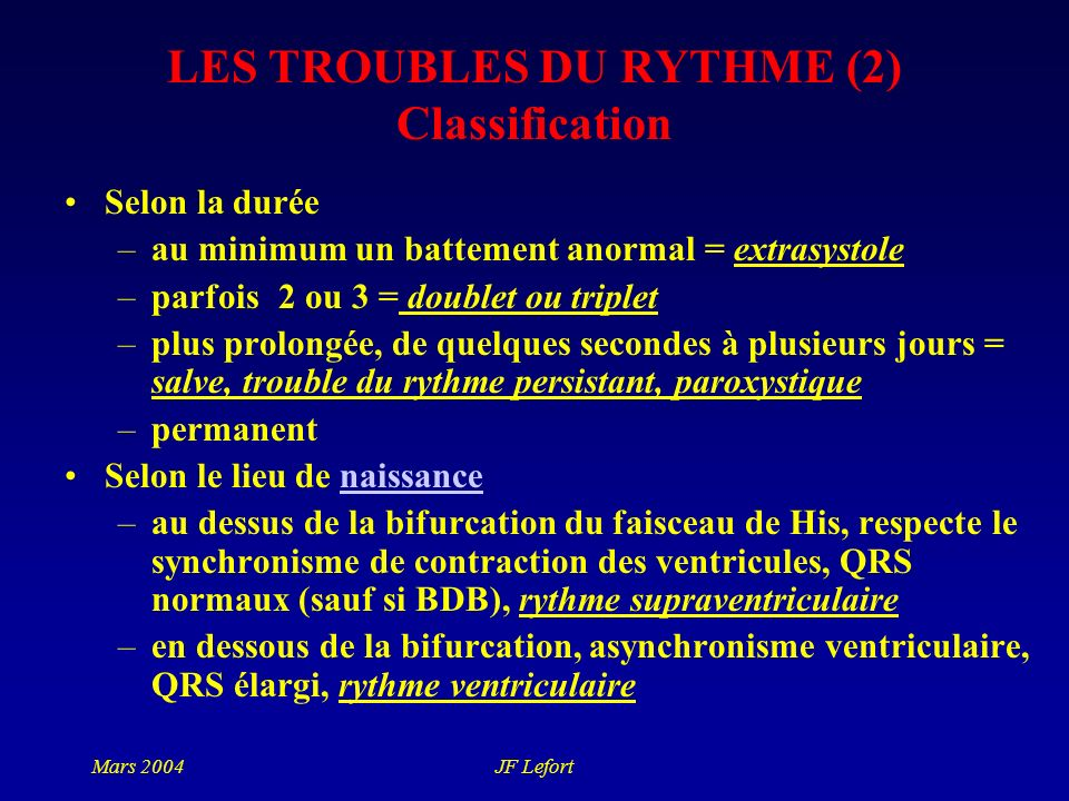 LES TROUBLES DU RYTHME (2) Classification