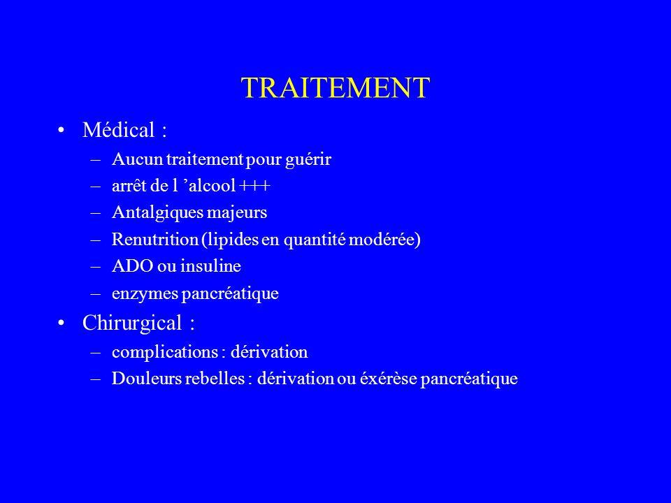 TRAITEMENT Médical : Chirurgical : Aucun traitement pour guérir