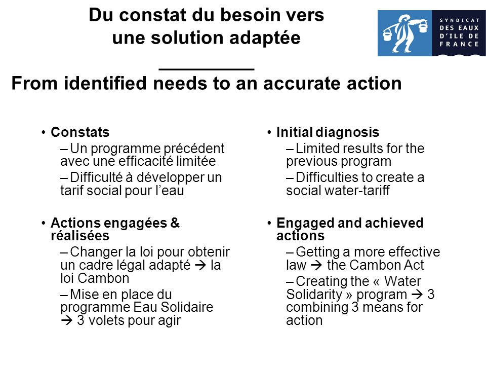 Du constat du besoin vers une solution adaptée _________ From identified needs to an accurate action