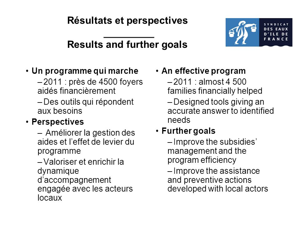 Résultats et perspectives _________ Results and further goals