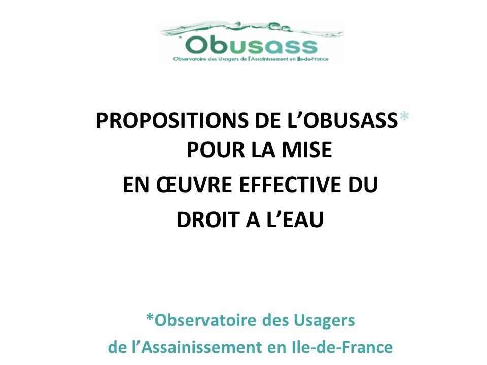 PROPOSITIONS DE L'OBUSASS* POUR LA MISE EN ŒUVRE EFFECTIVE DU
