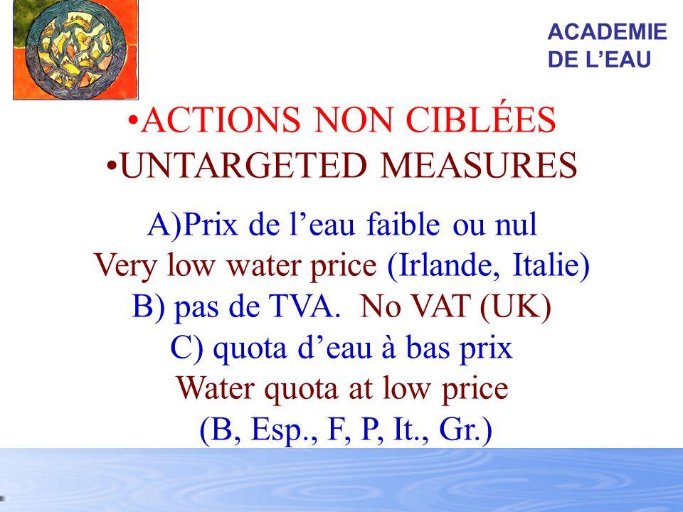 ACTIONS NON CIBLÉES UNTARGETED MEASURES Prix de l'eau faible ou nul