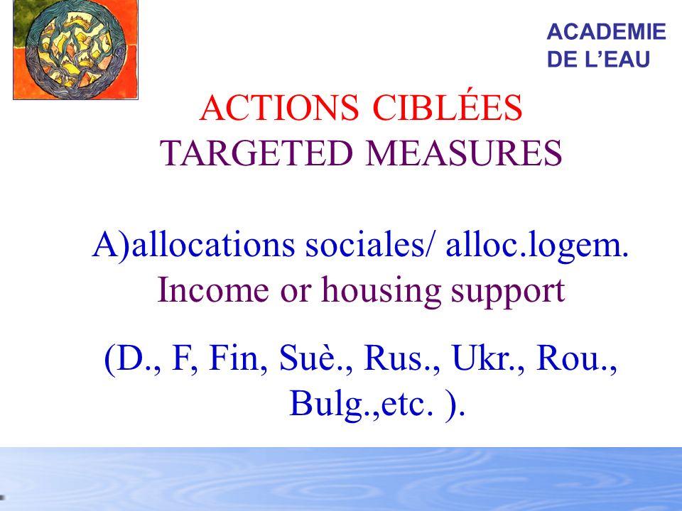 allocations sociales/ alloc.logem. Income or housing support