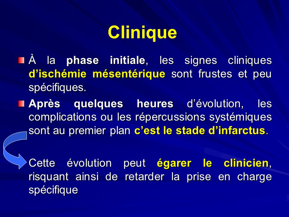 Clinique À la phase initiale, les signes cliniques d'ischémie mésentérique sont frustes et peu spécifiques.