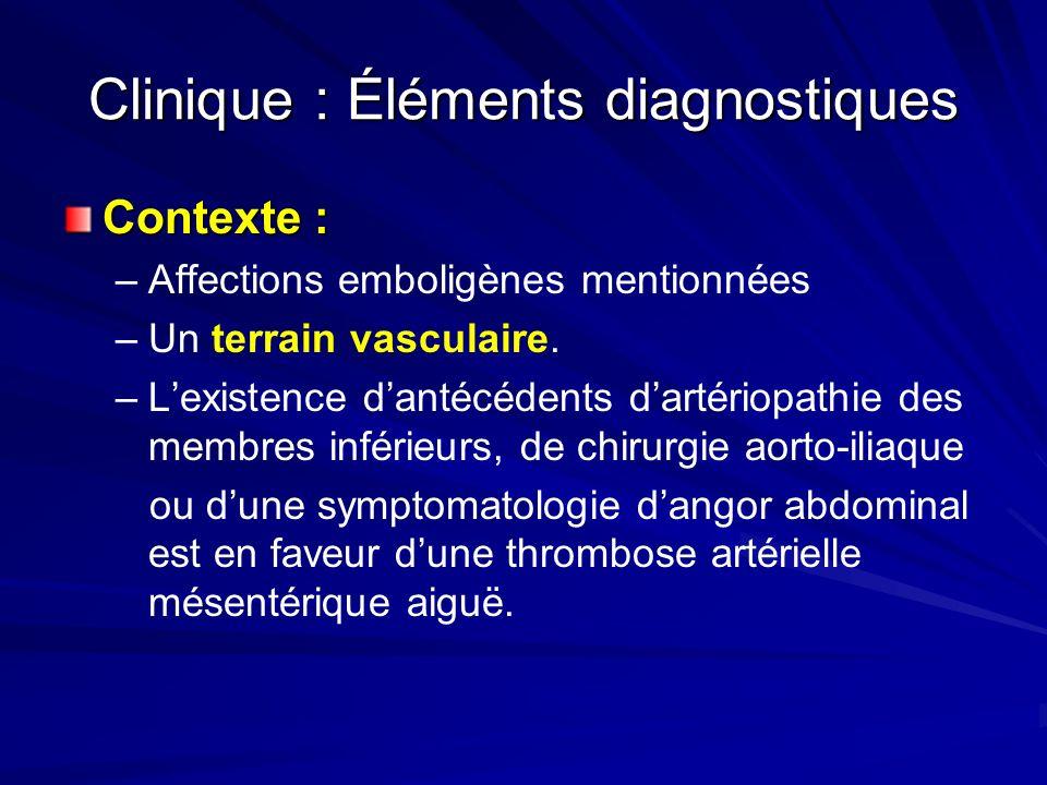 Clinique : Éléments diagnostiques