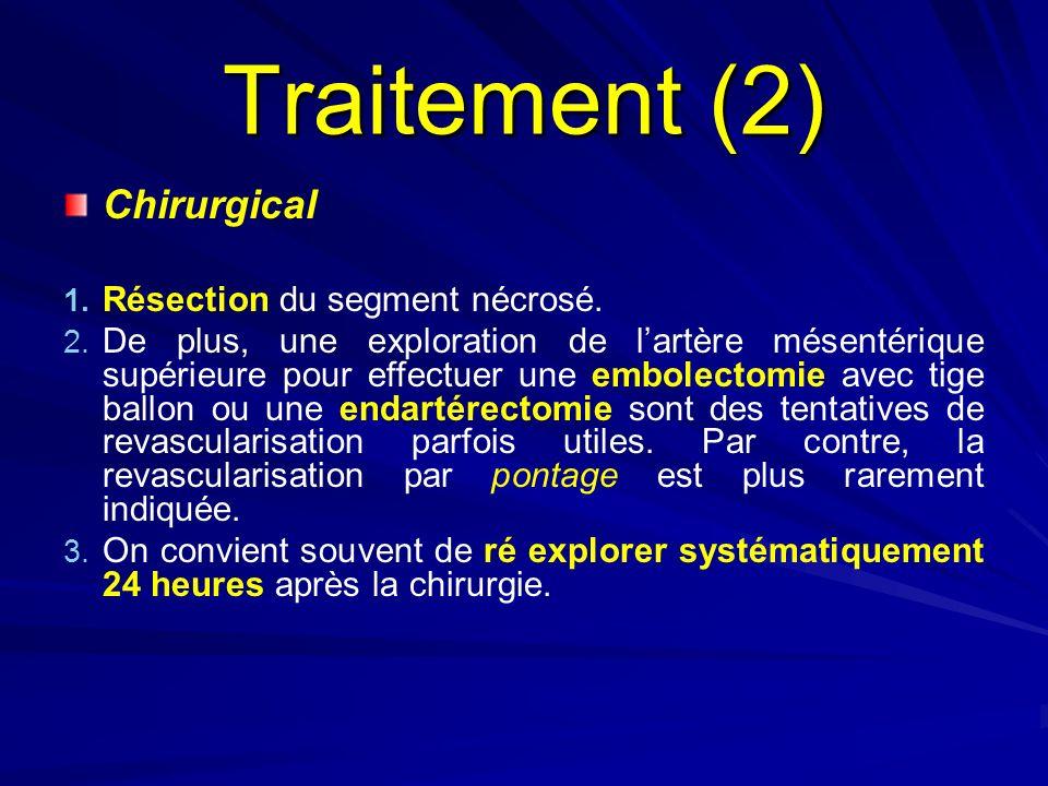 Traitement (2) Chirurgical Résection du segment nécrosé.