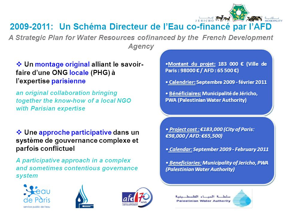 2009-2011: Un Schéma Directeur de l'Eau co-financé par l'AFD