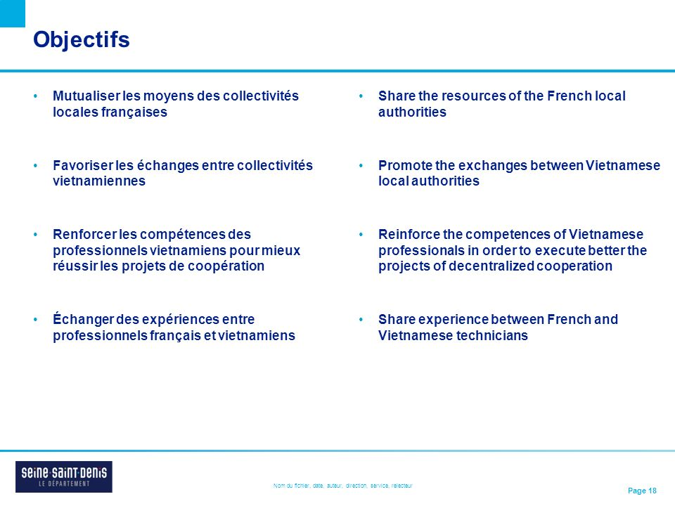 Objectifs Mutualiser les moyens des collectivités locales françaises