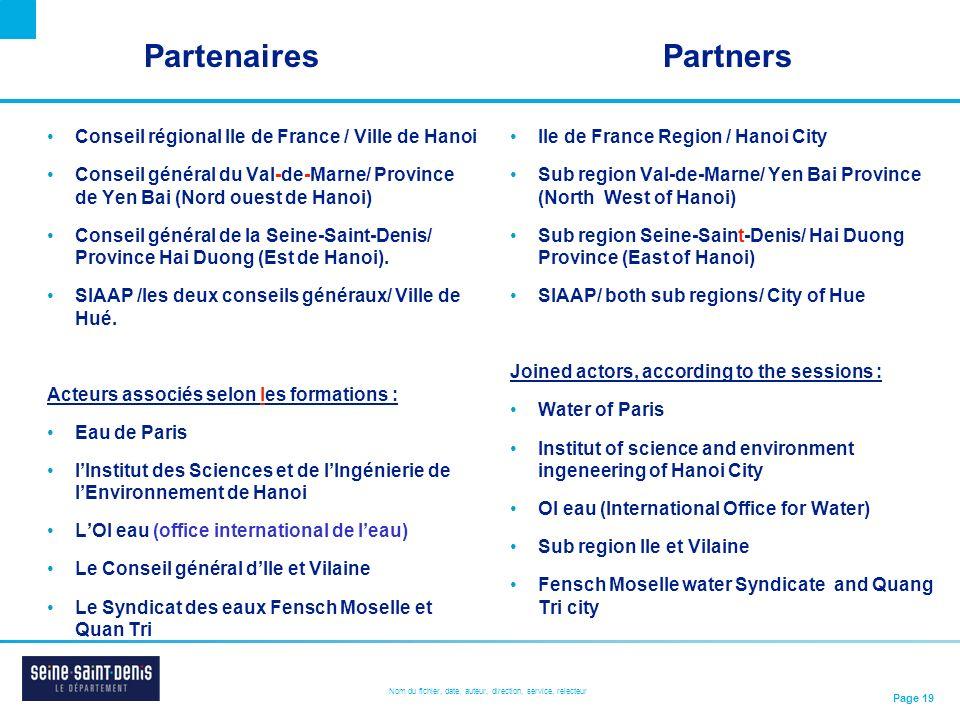 Partenaires Partners Conseil régional Ile de France / Ville de Hanoi