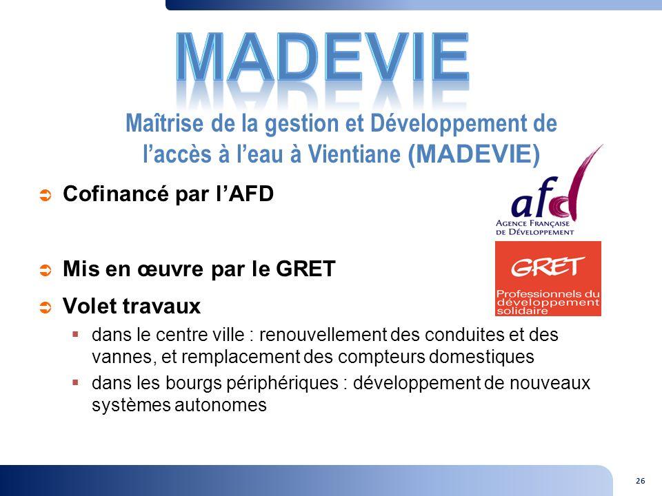 MADEVIE Maîtrise de la gestion et Développement de l'accès à l'eau à Vientiane (MADEVIE) Cofinancé par l'AFD.