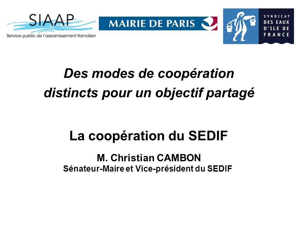 La coopération du SEDIF Sénateur-Maire et Vice-président du SEDIF