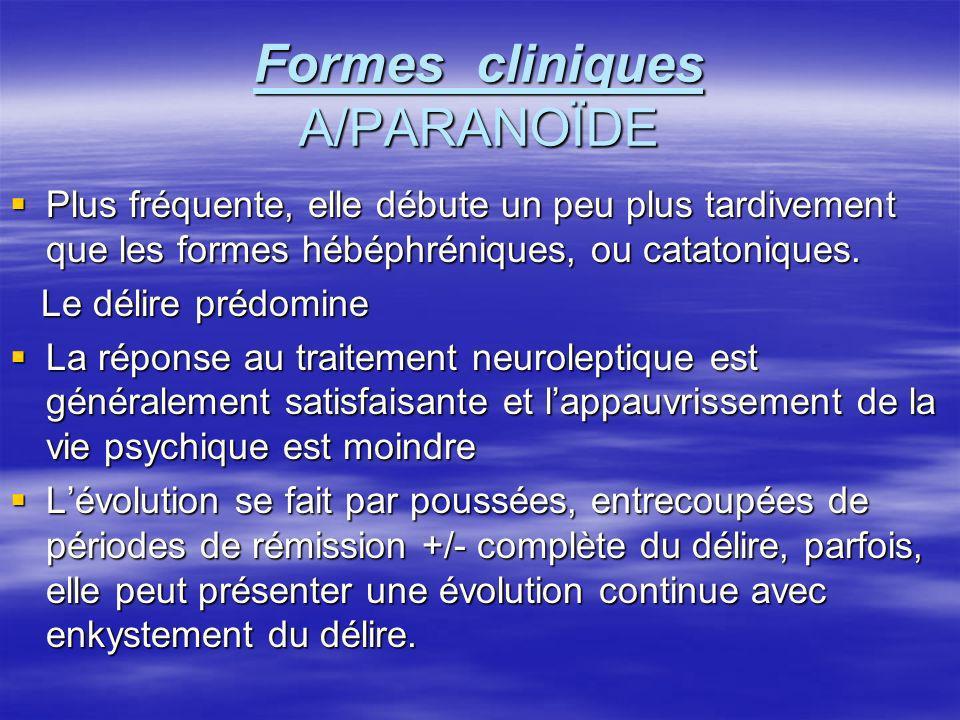Formes cliniques A/PARANOÏDE