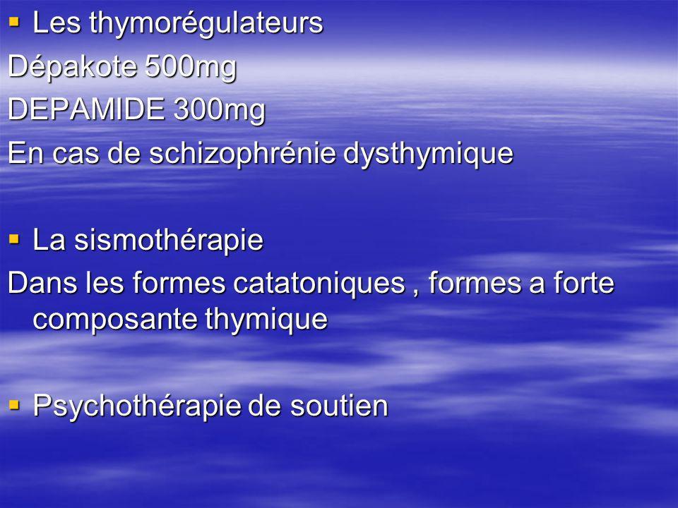 Les thymorégulateurs Dépakote 500mg. DEPAMIDE 300mg. En cas de schizophrénie dysthymique. La sismothérapie.