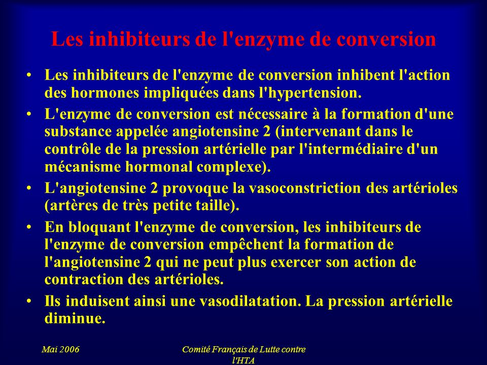 Les inhibiteurs de l enzyme de conversion