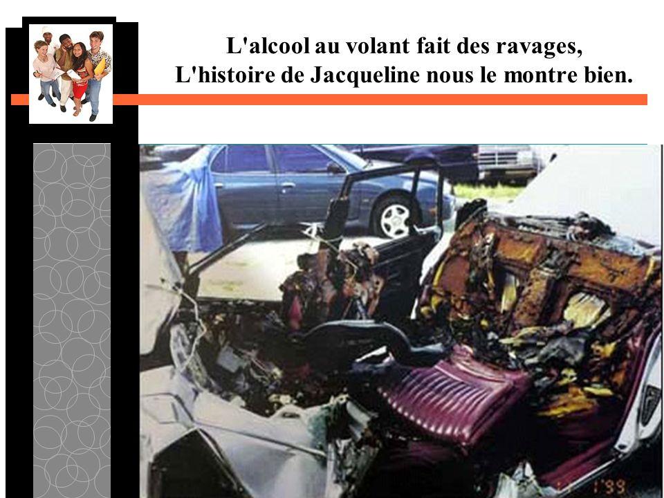 L alcool au volant fait des ravages, L histoire de Jacqueline nous le montre bien.