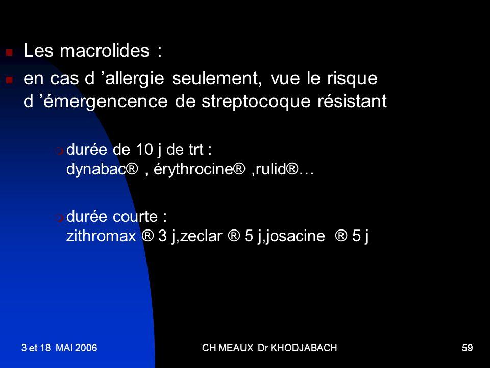 Les macrolides : en cas d 'allergie seulement, vue le risque d 'émergencence de streptocoque résistant.