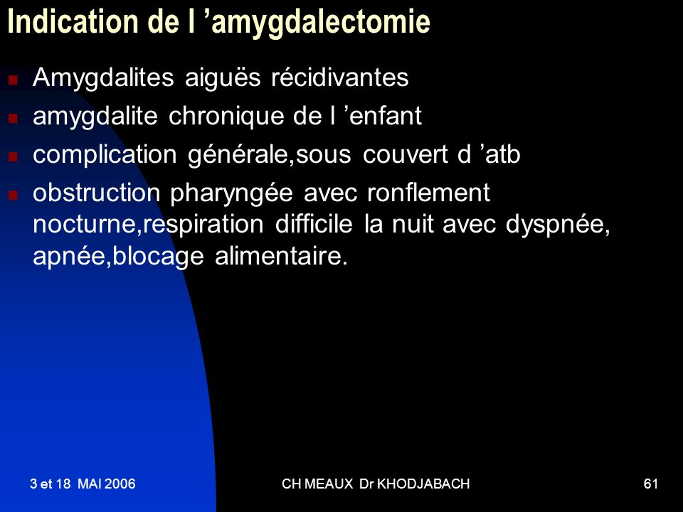 Indication de l 'amygdalectomie