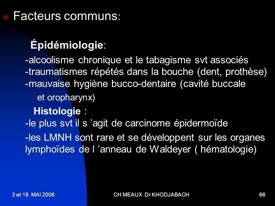 Facteurs communs: Épidémiologie: