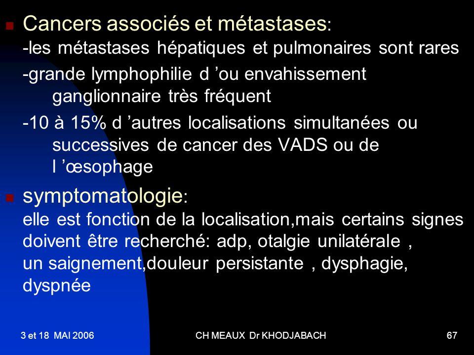Cancers associés et métastases: -les métastases hépatiques et pulmonaires sont rares