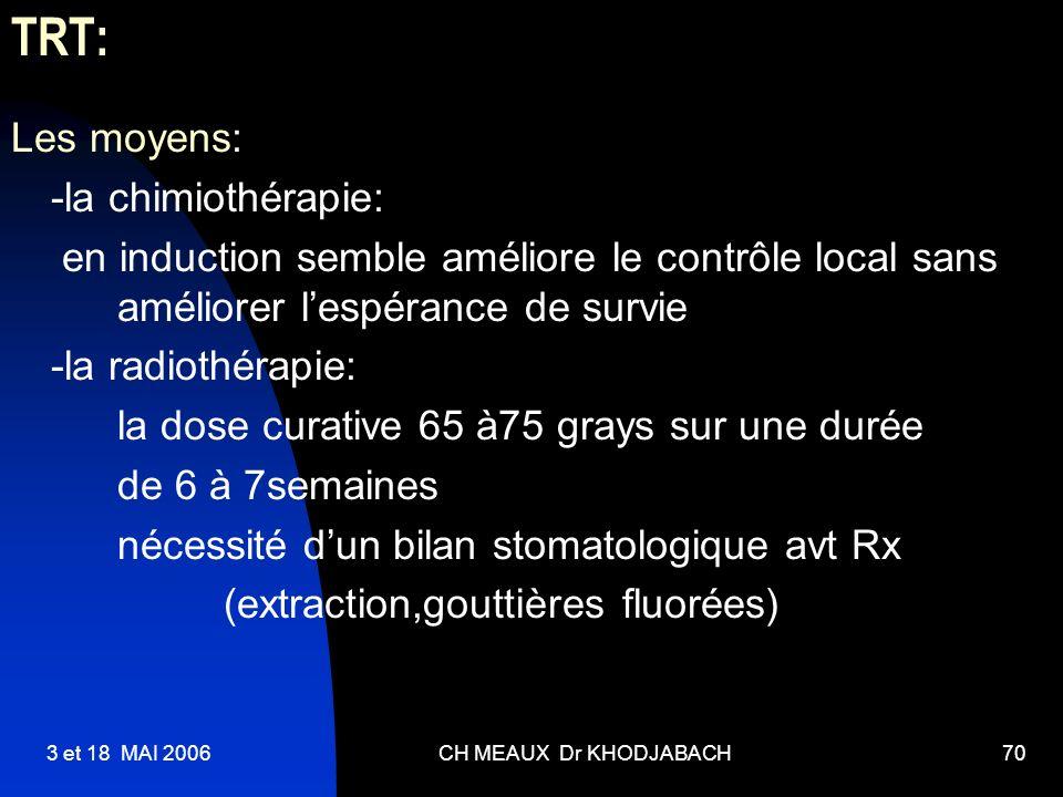 TRT: Les moyens: -la chimiothérapie: