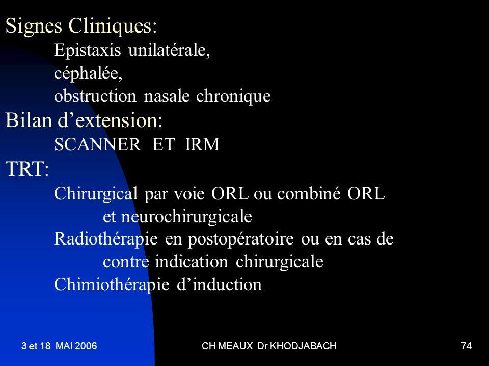 Signes Cliniques: Bilan d'extension: TRT: Epistaxis unilatérale,