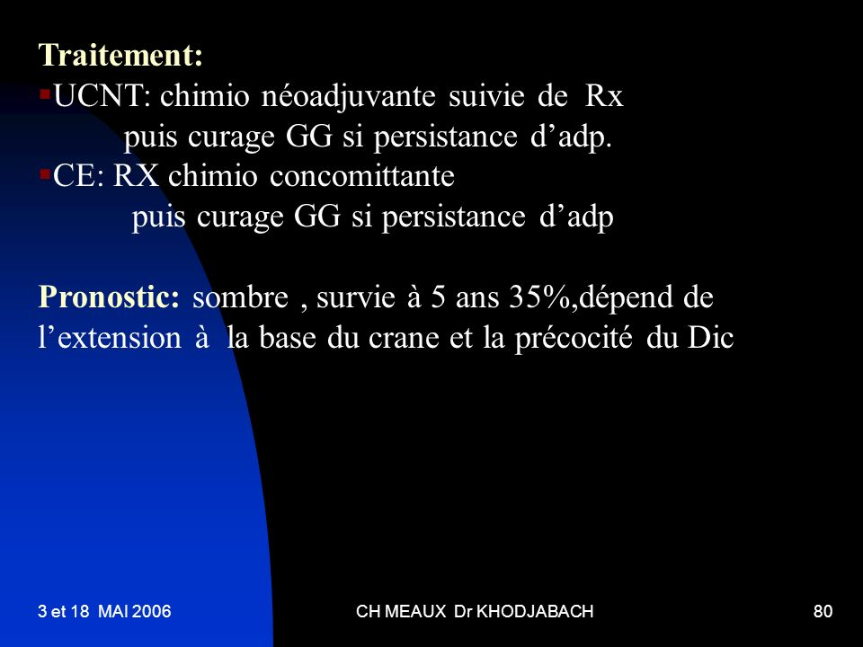 UCNT: chimio néoadjuvante suivie de Rx