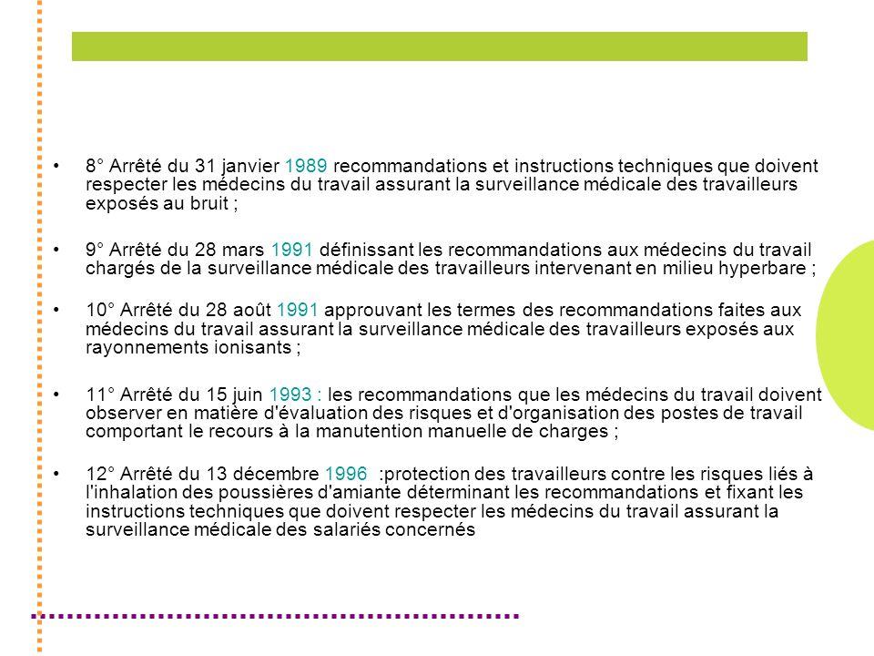 8° Arrêté du 31 janvier 1989 recommandations et instructions techniques que doivent respecter les médecins du travail assurant la surveillance médicale des travailleurs exposés au bruit ;