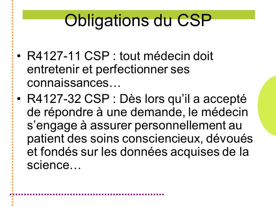 Obligations du CSP R4127-11 CSP : tout médecin doit entretenir et perfectionner ses connaissances…