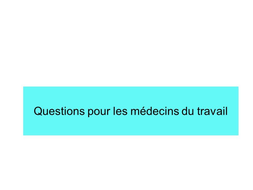 Questions pour les médecins du travail