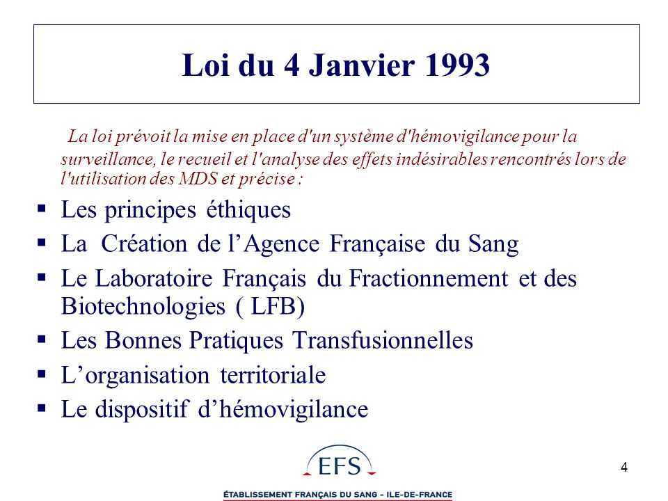 Loi du 4 Janvier 1993
