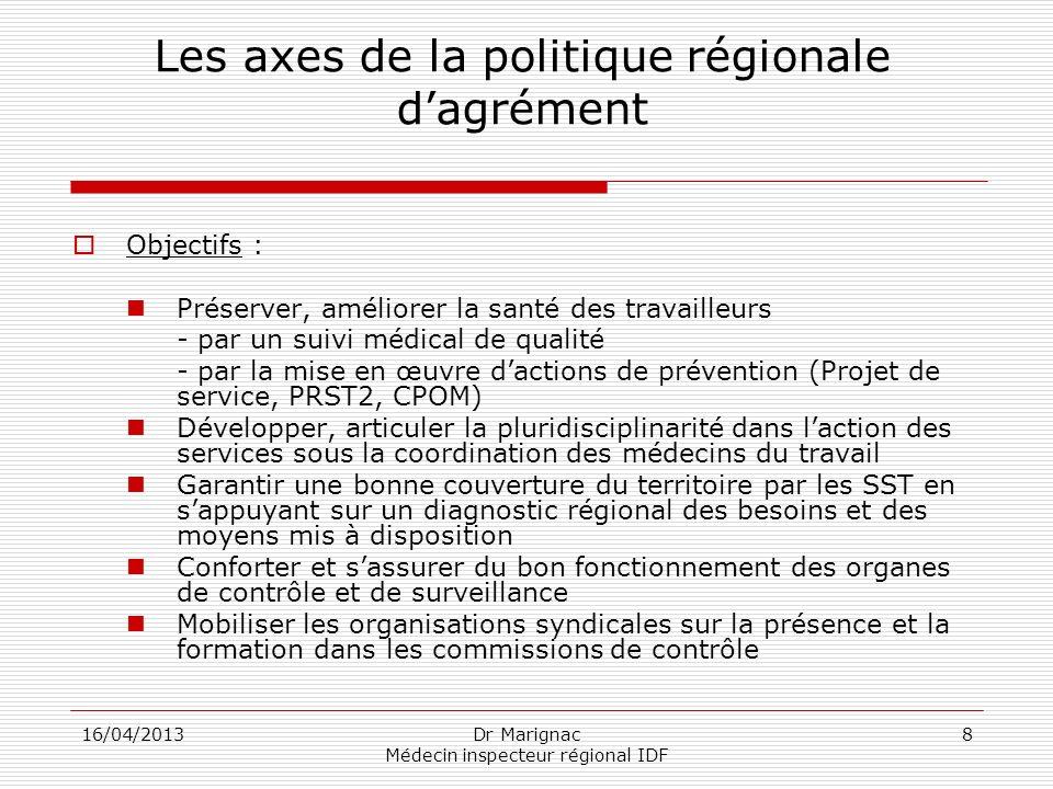 Les axes de la politique régionale d'agrément