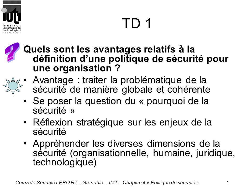 TD 1 Quels sont les avantages relatifs à la définition d'une politique de sécurité pour une organisation