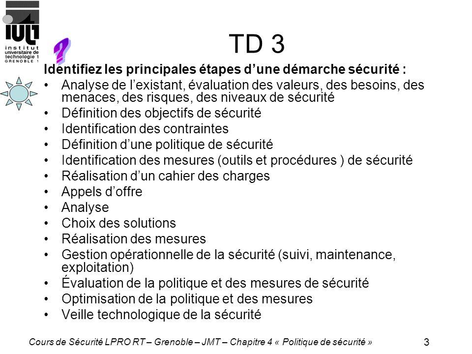 TD 3 Identifiez les principales étapes d'une démarche sécurité :