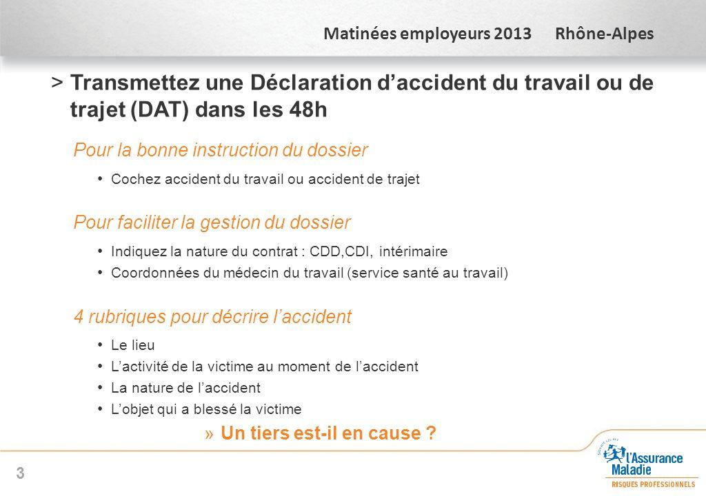 Transmettez une Déclaration d'accident du travail ou de trajet (DAT) dans les 48h