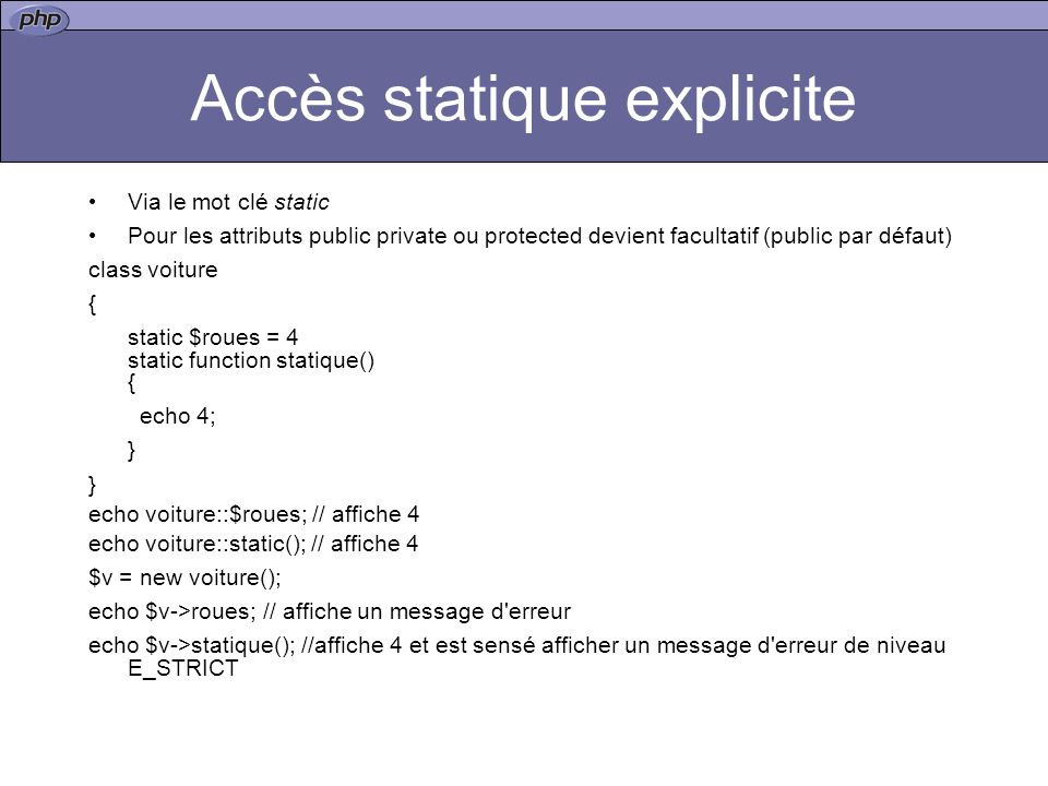 Accès statique explicite