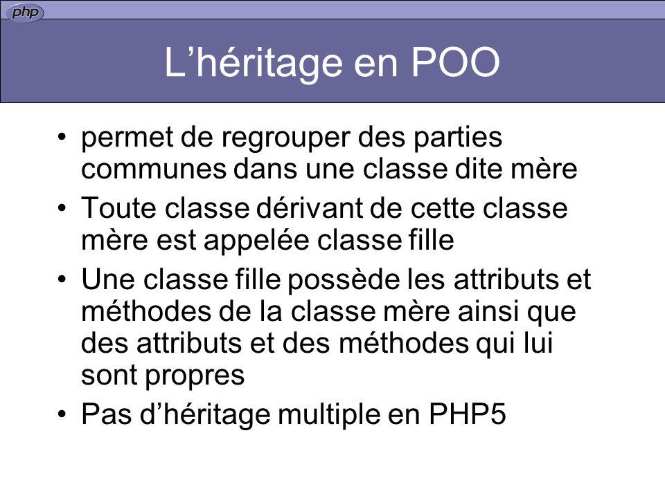 L'héritage en POO permet de regrouper des parties communes dans une classe dite mère.