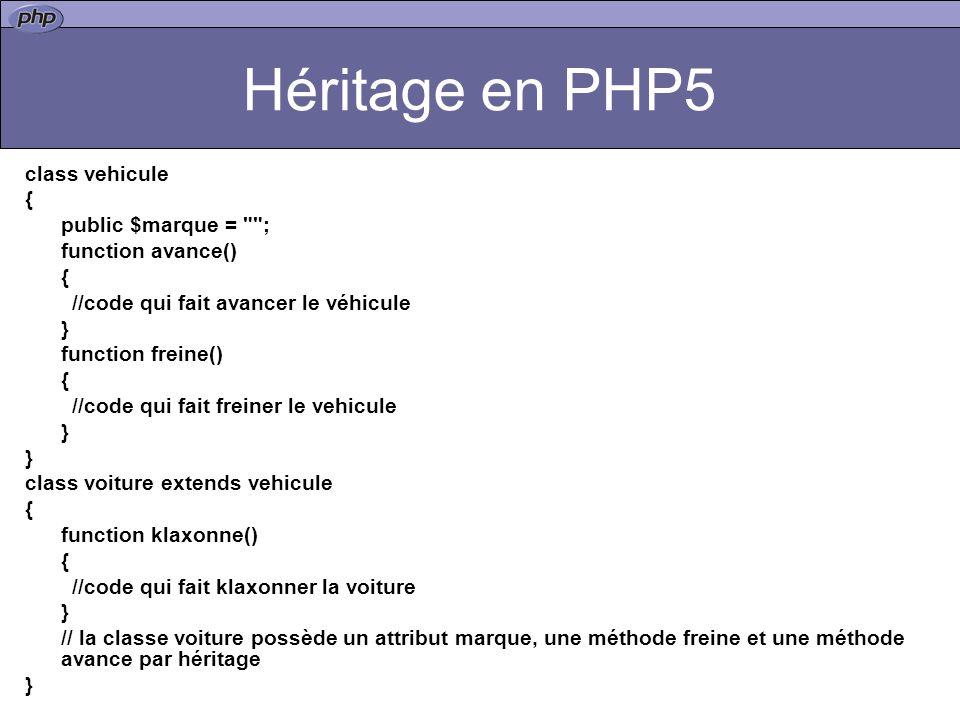 Héritage en PHP5 class vehicule { public $marque = ;