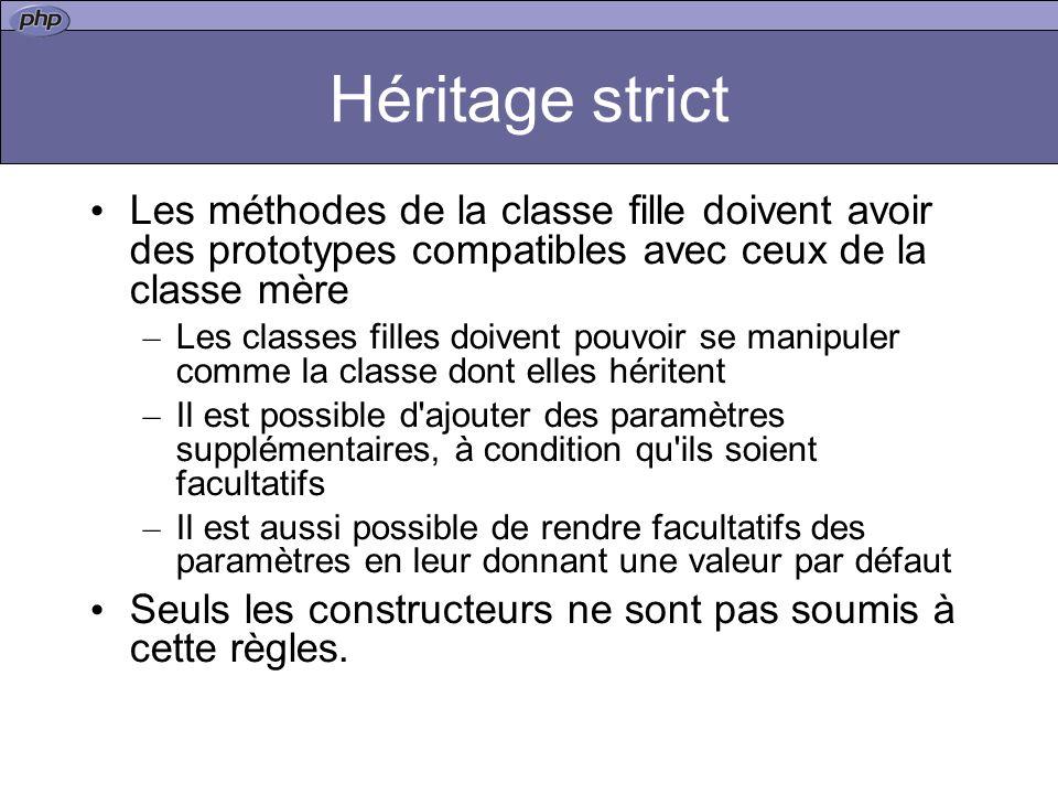 Héritage strict Les méthodes de la classe fille doivent avoir des prototypes compatibles avec ceux de la classe mère.