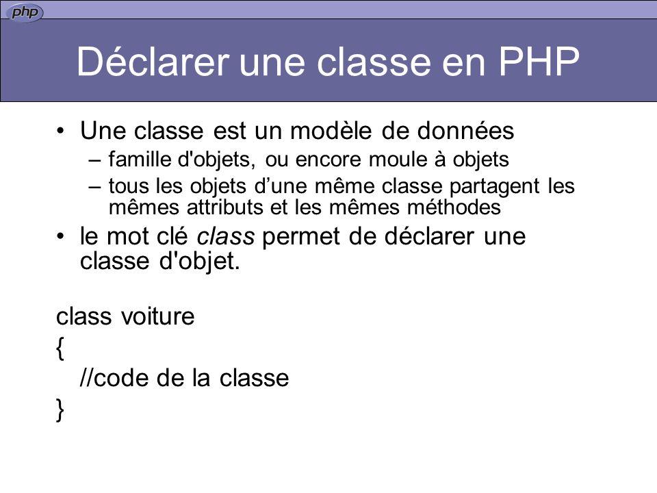 Déclarer une classe en PHP