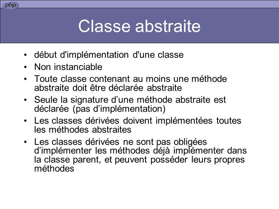 Classe abstraite début d implémentation d une classe Non instanciable