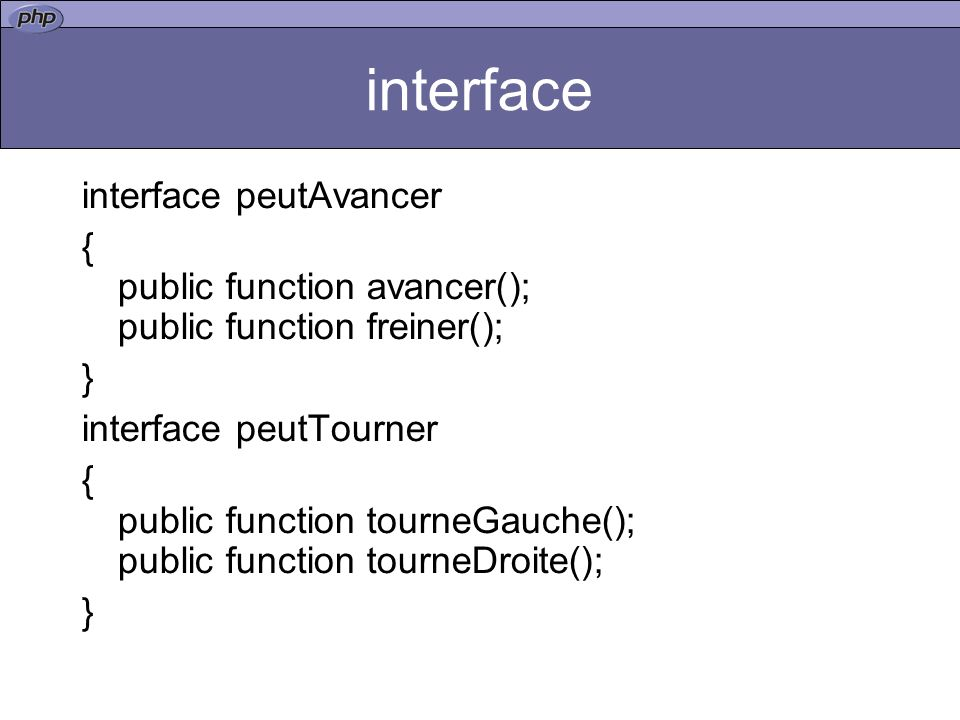 interface interface peutAvancer
