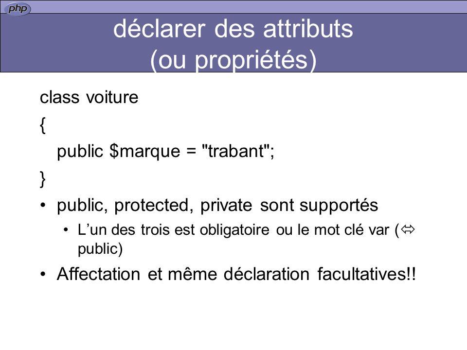 déclarer des attributs (ou propriétés)