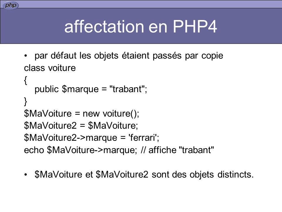 affectation en PHP4 par défaut les objets étaient passés par copie