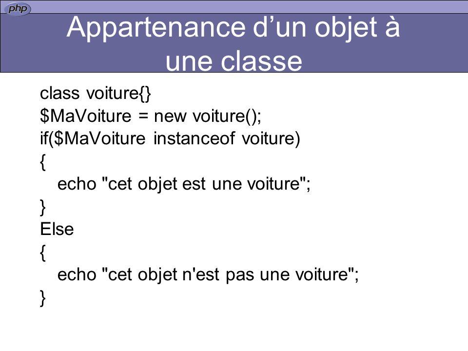 Appartenance d'un objet à une classe