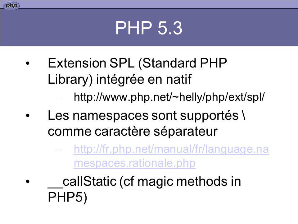 PHP 5.3 Extension SPL (Standard PHP Library) intégrée en natif