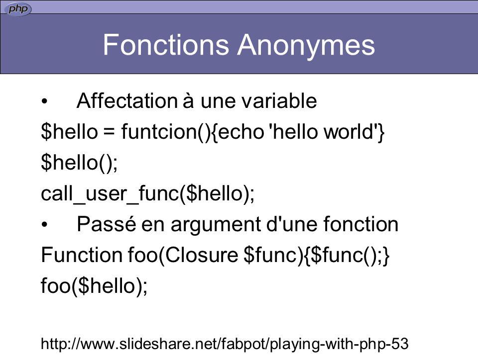 Fonctions Anonymes Affectation à une variable