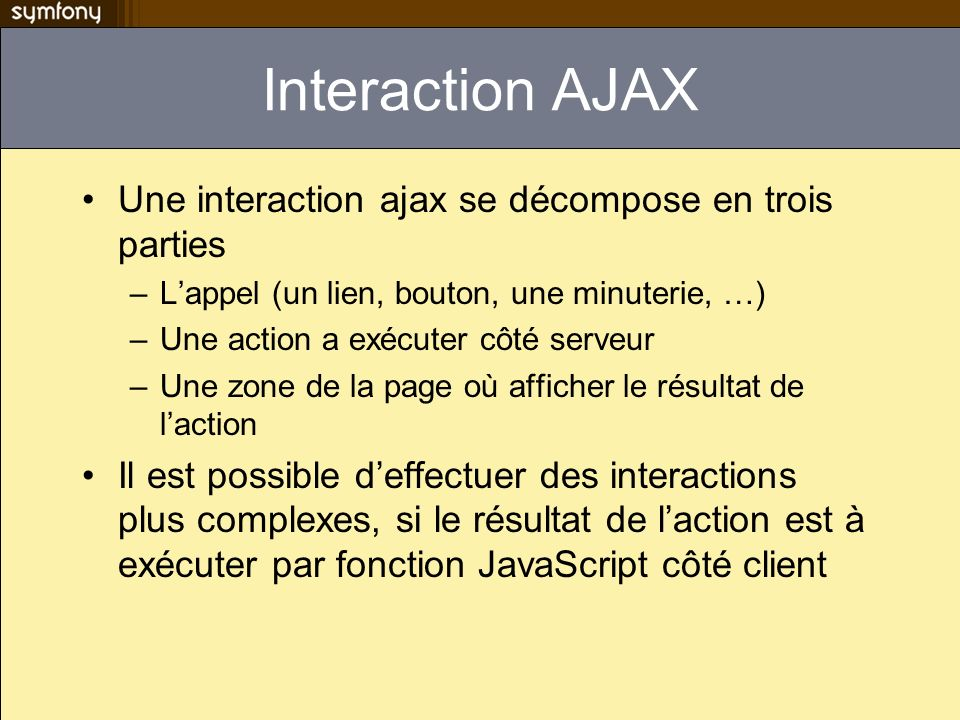 Interaction AJAX Une interaction ajax se décompose en trois parties