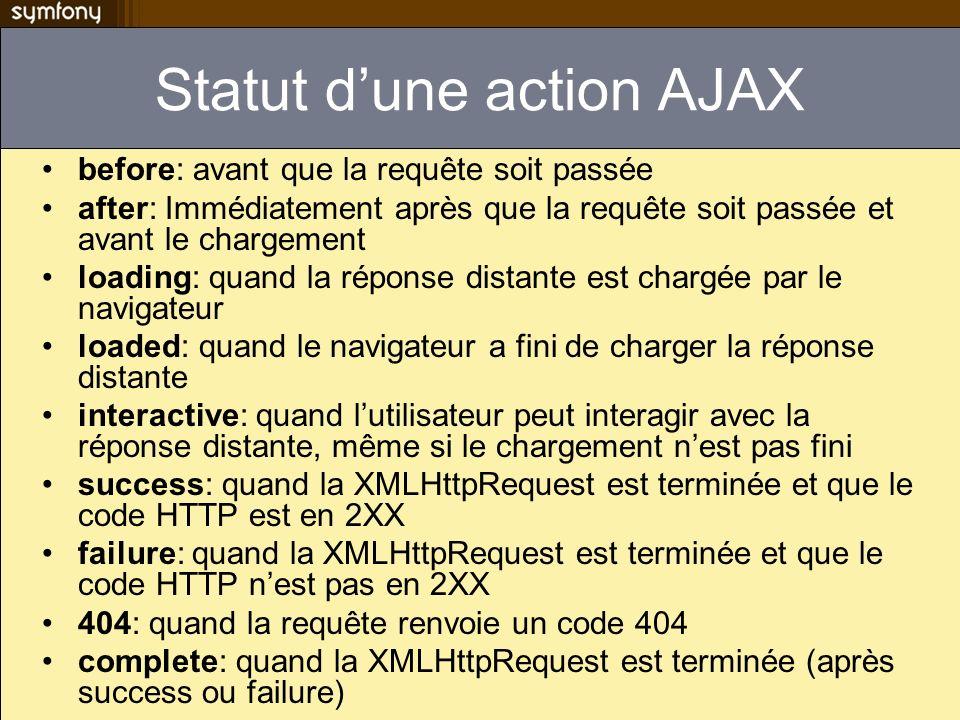 Statut d'une action AJAX