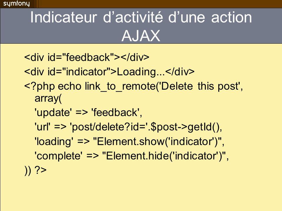 Indicateur d'activité d'une action AJAX