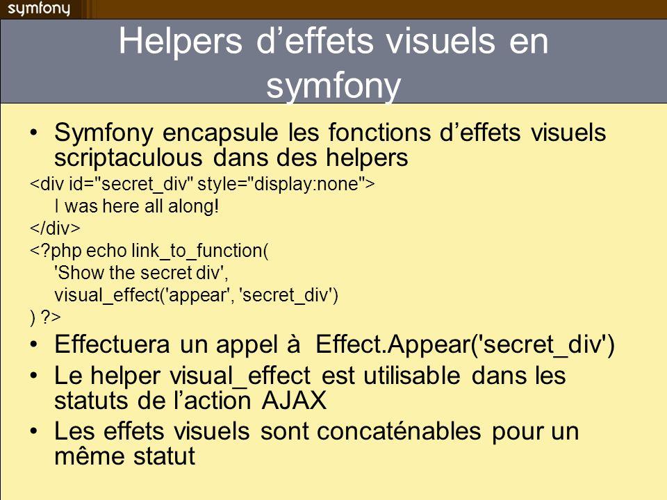 Helpers d'effets visuels en symfony